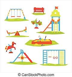 illustration, vecteur, enfants, cour de récréation, coloré