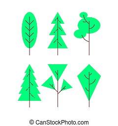 illustration., vecteur, ensemble, isolé, icônes, arbres.