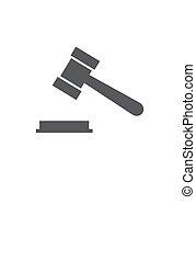 illustration, vecteur, fond, juge, blanc, martelez icône