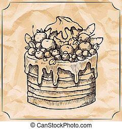 illustration., vecteur, fruit, doux, gâteau, berries., ...
