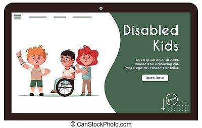illustration, vecteur, gosses, bannière, handicapé, amis