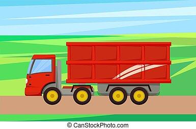 illustration, vecteur, grain, transport, camion, récolte
