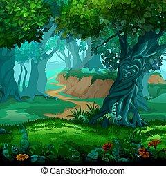 illustration., vecteur, gros plan, en mouvement, dessin animé, forêt, arbres., magic.