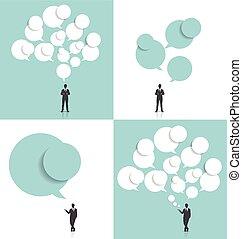 illustration., vecteur, homme affaires, bulle, nuage, speech.
