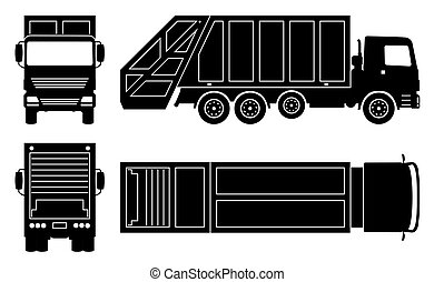 illustration, vecteur, icônes, camion, noir, déchets