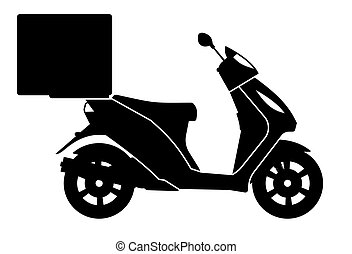 illustration, vecteur, icônes, noir, livraison, motocyclette