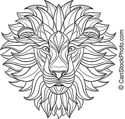 illustration., vecteur, indien, arrière-plan., isolé, design., lion, style., modelé, africaine, détaillé, totem, tatouage, aztèque, tête