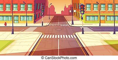 illustration., vecteur, intersection, passage clouté, autoroute, urbain, carrefour, ville, lights., trafic