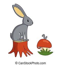 illustration, vecteur, lapin, stump.