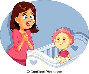 illustration, vecteur, mère, bébé, sourire heureux