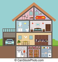 illustration, vecteur, maison, cut., interior.