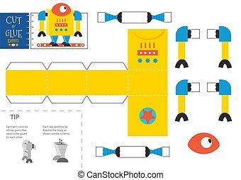 illustration., vecteur, papier, coupure, robot, worksheet, pédagogique, colle, métier, jouet