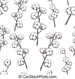 illustration., vecteur, plante, seamless, pattern., sprigs, coton