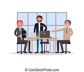 illustration, vecteur, réunion, bureau, business