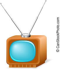 illustration, vecteur, retro, tv.