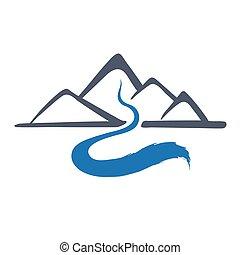 illustration., vecteur, rivière, logo, montagne