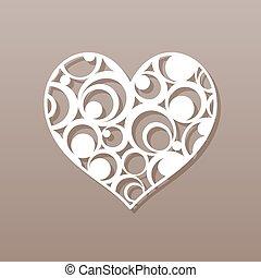 illustration., vecteur, rond, coeur, laser, cutting., pattern.