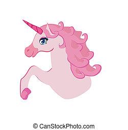 illustration, vecteur, rose, unicorn., beau