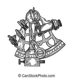 illustration., vecteur, sextant, navigation, style, noir, gravure, blanc, main, planche, imitation., dessiné, image., égratignure, instrument