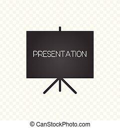 illustration., vecteur, signe., icon., présentation, écran, projecteur