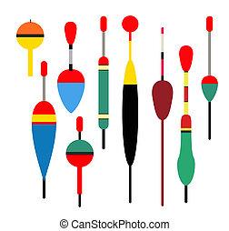 illustration., vecteur, symbols., peche, icon., bobber., couleur, set., bobber, outils