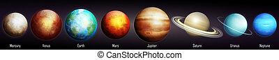 illustration, vecteur, système solaire, planètes