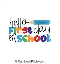 illustration., vecteur, texte, children., premier jour, bonjour, school-