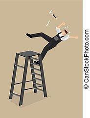illustration, vecteur, tomber, échelle, ouvrier