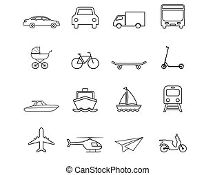 illustration, vecteur, transport, plat, set., icônes, design.