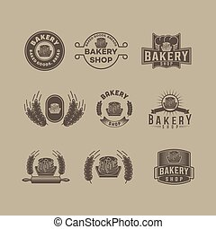 illustration, vecteur, vendange, ensemble, design., boulangerie, logo