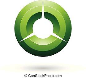 illustration, vecteur, vert, lustré, cercle, ombragé