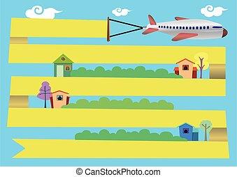 illustration, vecteur, voler, avion, dessin animé, autour de, ville, bannière