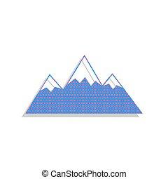 illustration., vector., 印, シクラメン, 山, アイコン, ネオン, 青