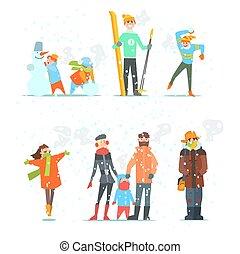 illustration., vector, activities., invierno, gente