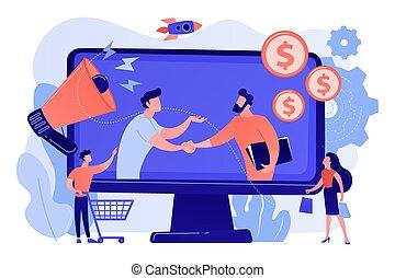 illustration., vector, affiliate, concepto, mercadotecnia