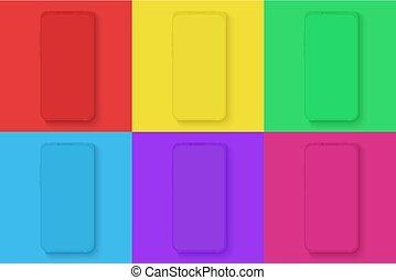 illustration., vector, app, brillante, comercial, anuncio, infographic, demostración, colores, visual, plano de fondo, iconos, conjunto, diferente, ui, smartphone, cuadrado