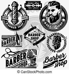illustration., vector, barbería, plantillas, logotipo, conjunto, barbershop.