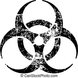 illustration vector black biohazard grungy rubber stamp symbol isolated on white.