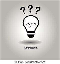 illustration vector bulb with curious face and three...