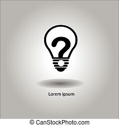 illustration vector bulb with question mark inside. -...