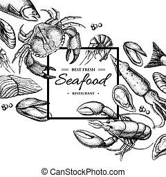 illustration., vector, cangrejo, camarón, mariscos, caviar, encuadrado, mano, dibujado, mejillón, squid., ostra, langosta