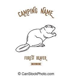 illustration., vector, castor, europeo, logotipo, diseño, siluetas, vintage., animales, bosque