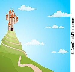 illustration., vector, colina, plano de fondo, castillo, ...