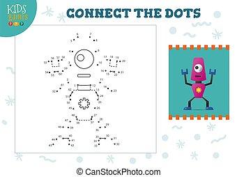 illustration., vector, conectar, puntos, educativo, jardín de la infancia, juego, actividad, niños, niños