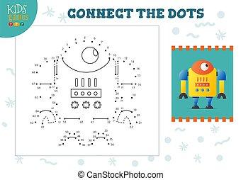 illustration., vector, conectar, puntos, juego, niños