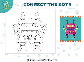 illustration., vector, conectar, puntos, mini, juego, niños