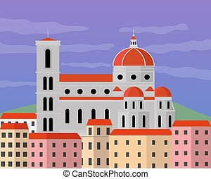 Illustration vector design of santa maria del fiore. It is located in Florence, Tuscany, Italy.