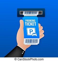 illustration., vector, diseño, cualesquiera, estacionamiento, purposes., acción, zone., grande, boletos