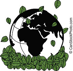 illustration vector doodle hand drawn earth and green leaves, ecology concept, creative design.