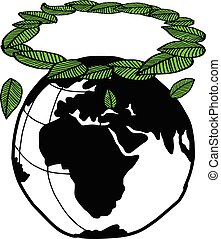 illustration vector doodle hand drawn earth and green leaves in the shape of angel circle, ecology concept, creative design.